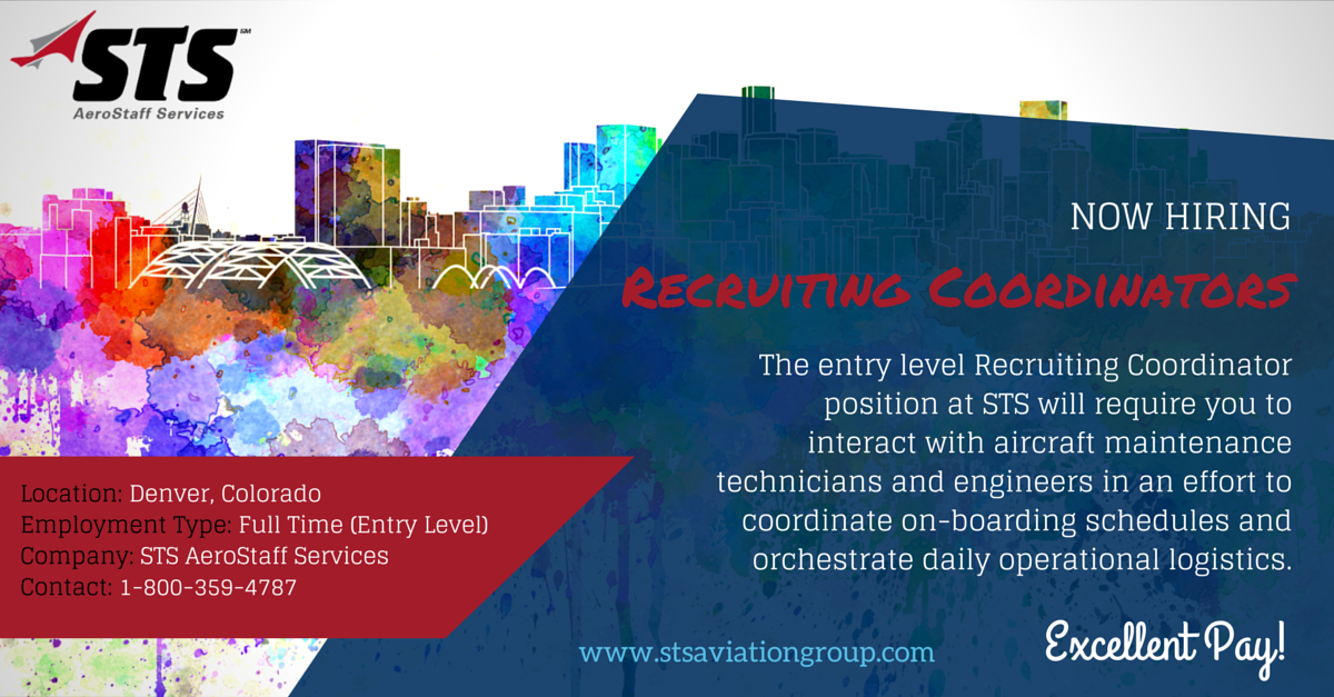 STS Aviation Group is Hiring Entry Level Recruiting Coordinators in Denver
