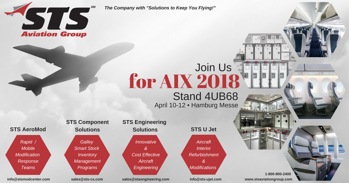 STS Aviation Group Takes Off for the 2018 Aircraft Interiors Expo
